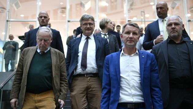 Die AfD-Politiker Gauland, Meuthen und Höcke (v.l.n.r.) (Bild: AFP/John MACDOUGALL)
