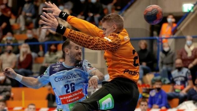 Martin Breg (Bruck) gegen Leobens Aistis Pazemeckas (r.) - wer gewinnt das Derby? (Bild: GEPA pictures)