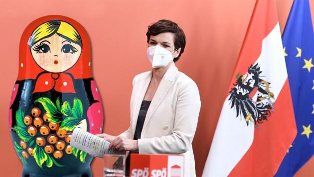 Steht mit ihrer Meinung in der Partei oft alleine da: Chefin Pamela Rendi-Wagner. Die SPÖ als Polit-Matrjoschka. (Bild: APA; stock.adobe.com; Krone KREATIV)