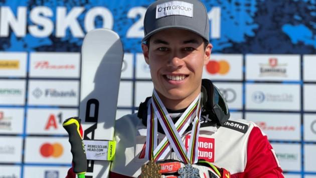 Der Mellauer Lukas Feurstein war mit Riesentorlauf-Gold und Super-G-Silber der erfolgreichste Athlet bei den Junioren-Weltmeisterschaften in Bansko. (Bild: ÖSV/Schrammel)