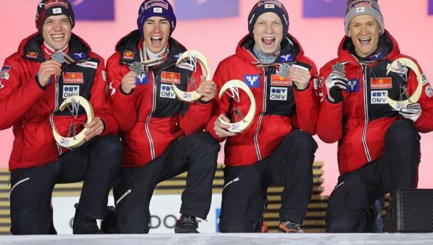 Von links: Philipp Aschenwald, Stefan Kraft, Jan Hoerl und Daniel Huber (Bild: GEPA pictures)