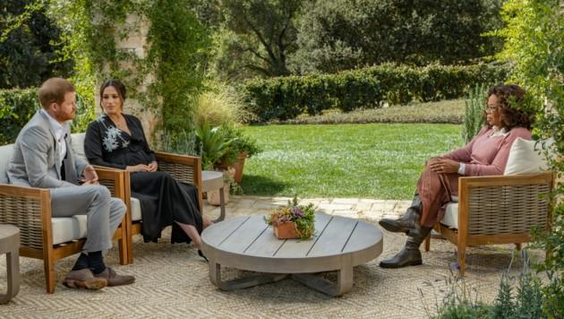 Herzogin Meghan und Prinz Harry trafen US-Talkerin Oprah Winfrey zum Interview. (Bild: AFP)