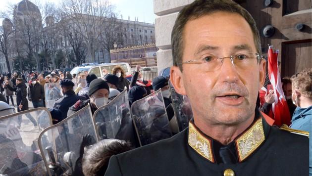 Alles richtig gemacht? Polizeipräsident Gerhard Pürstl würde rückblickend auf die vergangenen Demos nichts anders machen. (Bild: APA/HERBERT PFARRHOFER, APA/ROLAND SCHLAGER, Krone KREATIV)