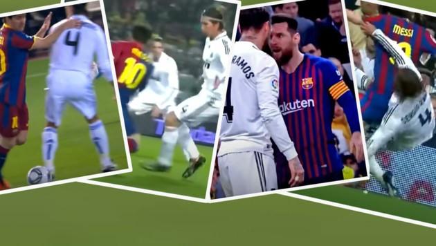 """Unzählige """"Clasicos"""" und ein Dauerbrenner: Lionel Messi gegen Sergio Ramos (Bild: YouTube.com)"""