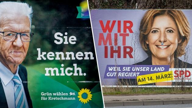 Am Sonntag stehen Landtagswahlen in den deutschen Bundesländern Baden-Württemberg und Rheinland-Pfalz an. (Bild: AP, Krone KREATIV)