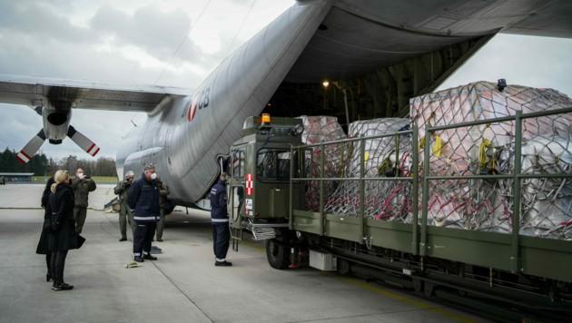 Hercules bringt von Hörsching aus Hilfsgüter nach Beirut. (Bild: Markus Wenzel)