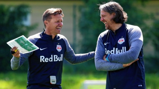 Cheftrainer Jesse Marsch (li.) und Co Rene Aufhauser. (Bild: Kronen Zeitung)