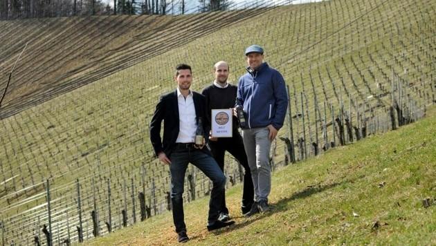 Ausgezeichnete Winzer: Roland Riegelnegg, Peter Skoff jun. und Markus Skoff (v. l.). (Bild: Wein Steiermark/Flora P.)