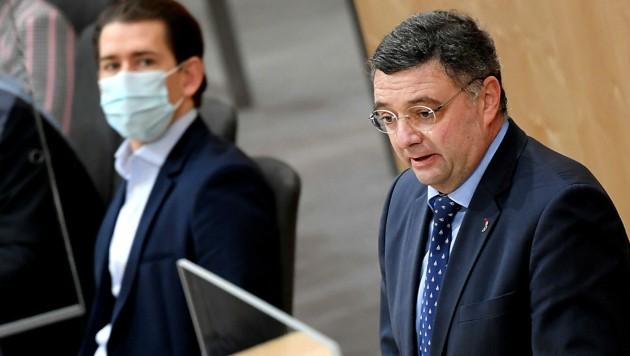 Bundeskanzler Sebastian Kurz (ÖVP) musste viel Kritik von SPÖ-Klubobmannstellvertreter Jörg Leichtfried (SPÖ) einstecken. (Bild: APA/Roland Schlager)