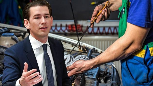 Die Autolobby hofft auf ein Machtwort des Bundeskanzlers. (Bild: stock.adobe.com, APA/HELMUT FOHRINGER)