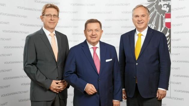 Die drei Volksanwälte in Wien: Achitz, Amon und Rosenkranz kritisieren das Wiener Mindestsicherungsgesetz (Bild: Photo Simonis/Volksanwaltschaft)
