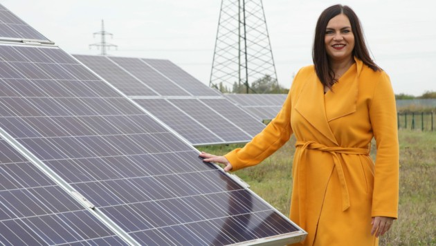Landeshauptmann-Stellvertreterin Eisenkopf setzt sich für den Ausbau von Sonnenenergie durch Fotovoltaikanlagen ein. (Bild: Landesmedienservice Burgenland)