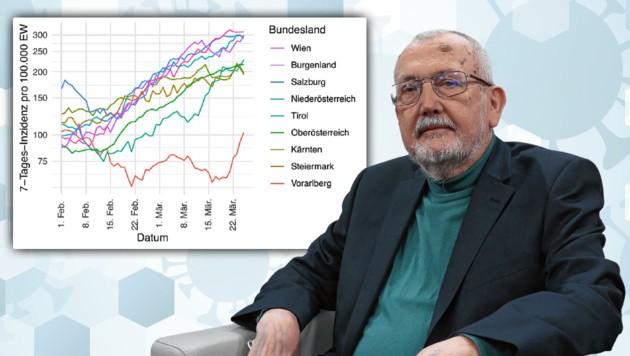 Statistiker Erich Neuwirth zeigt sich über die aktuelle Entwicklung auf den Intensivstationen besorgt. (Bild: Klemens Groh, Twitter.com, AdobeStock, Krone KREATIV)