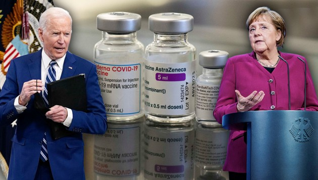 Entwicklung der Impfstoffe: Die USA investierten bereits fast 2,2, Deutschland 1,5 Milliarden Dollar aus der Staatskasse. (Bild: APA/AFP, AP, Krone KREATIV)