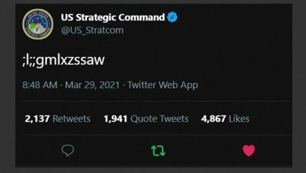 """"""";l;;gmlxzssaw"""" - so lautete der rätselhafte Tweet, der der Online-Community Kopfzerbrechen bereitete. (Bild: AFP/US Strategic Command)"""