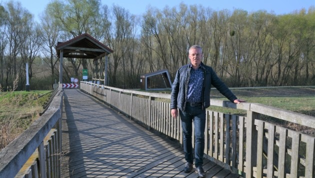 Bürgermeister Andi Peck am Rande der Brücke - weiter sollte man sie aus Sicherheitsgründen nicht betreten. Geländer und Brückenaufbau sind leider morsch geworden. (Bild: Charlotte Titz)