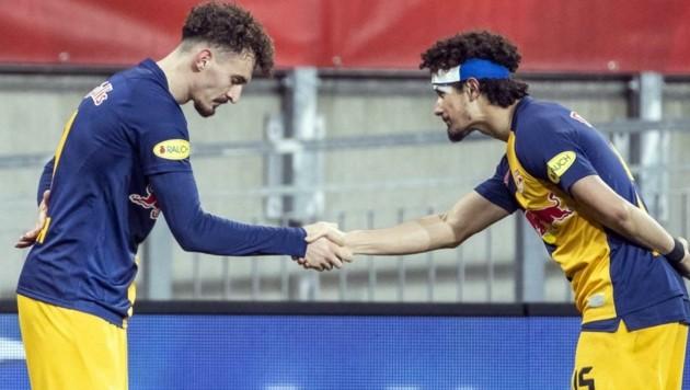 Berisha (li.) und Ramalho bejubelten im Cup einen 4:0-Sieg über Sturm. (Bild: GEPA pictures/ Wolfgang Jannach)
