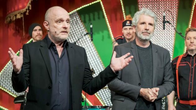 """Christoph Grissemann und Dirk Stermann in """"Willkommen Österreich"""" (Bild: ORF)"""