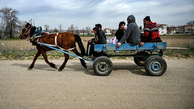 Migranten in der Nähe der türkisch-griechischen Grenze (Bild: APA/AFP/Ozan KOSE)