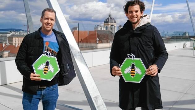 """Einsatz für die gute Sache mit Nachhaltigkeit: Sebastian Vettel und Dominic Thiem beim """"Krone""""-Foto (Bild: Mario Urbantschitsch)"""