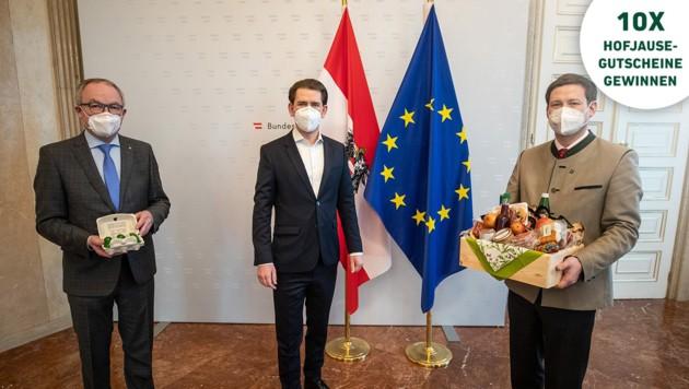Unterstützt werden Niederösterreichs Bauern von Bundeskanzler Sebastian Kurz, der sich beim Arbeitsgespräch als großer Fan heimischer Produkte bekannte. (Bild: BKA)