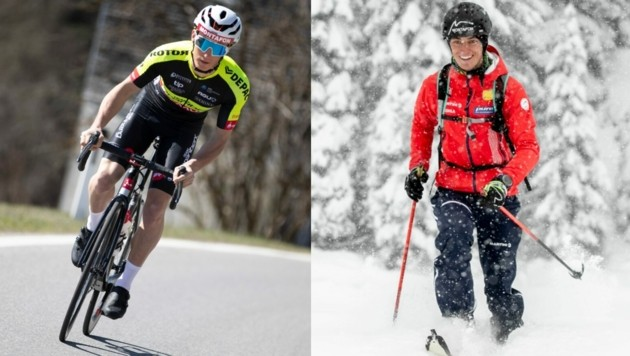 Der Gaschurner Daniel Ganahl gibt nicht nur im Winter als Skibergsteiger Gas (re.), sondern wird ab sofort auch im Trikot des Team Vorarlberg Rennen bestreiten. (Bild: Maurice Shourot)