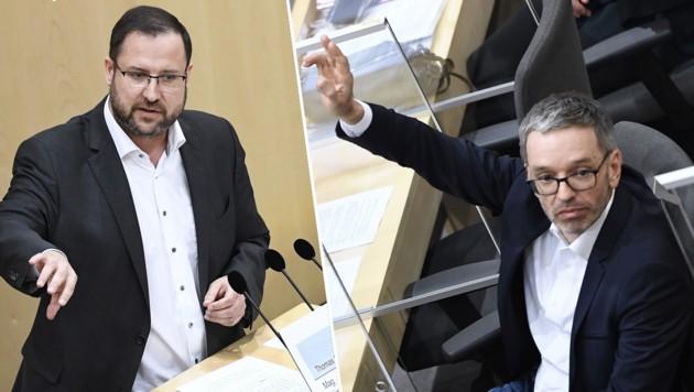FPÖ maskenlos im Parlament: Hafenecker und Kickl (Bild: AFP / Krone/KREATIV)