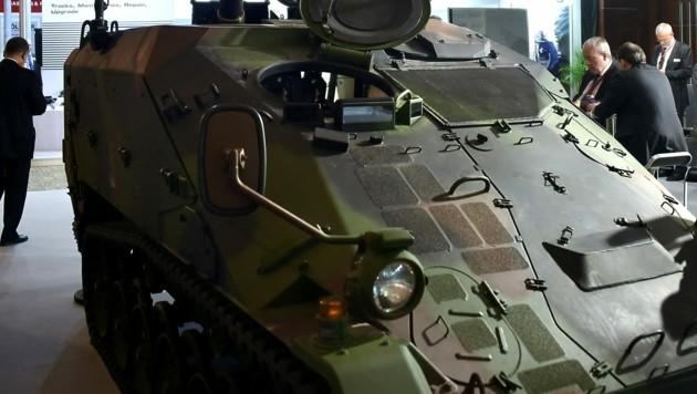 Ein Panzerfahrzeug der deutschen Bundeswehr bei einer Militär-Expo in Indonesien (Bild: AFP)