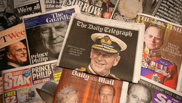 """""""Thank you Sir!"""" - mit diesen Worten verabschiedeten sich Zeitungen, TV-Stationen, Institutionen, Kultureinrichtungen und Umweltorganisationen von Prinz Philip (1921-2021). (Bild: EPA)"""