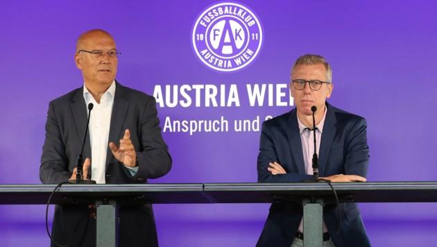 Frank Hensel (li.) und Peter Stöger (Bild: GEPA )