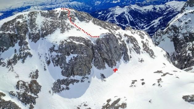Hier, über diese Felswand, stürzte der Tourengeher ab (Bild: LPD Salzburg)
