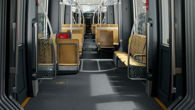 In der neuen Badner Bahn gibt es mehr Sitzplätze und gleichzeitig zusätzliche Plätze für Rollstühle bzw. Kinderwagen. (Bild: moodley industrial design)