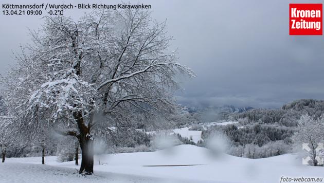 """Die Webcam der """"Kärntner Krone"""" zeigt es: Schnee auch in Köttmannsdorf. (Bild: Kärntner Krone)"""