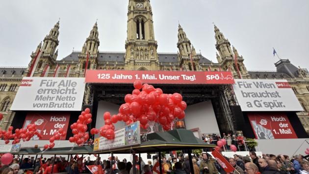 Traditioneller Maiaufmarsch der SPÖ am Wien im Jahr 2015 (Bild: APA/HANS PUNZ)