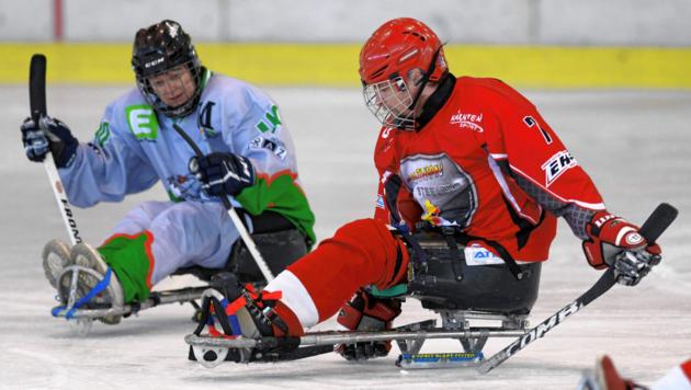 Para-Hockey-Spieler bewegen sich auf Schlitten fort. Podcast-Moderator Patrick Jochum plaudert mit Steelers-Gründer Stefan Eberdorfer. (Bild: F. Pessentheiner)