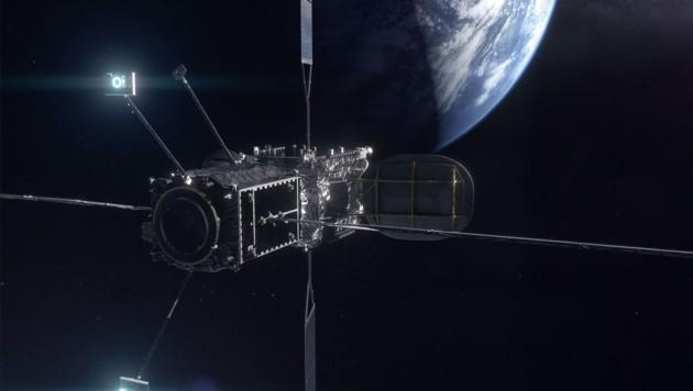Das Versorgungsmodul MEV dockt autonom am Satelliten an und leiht diesem seinen Antrieb und den Navigationscomputer. (Bild: Northrop Grumman)