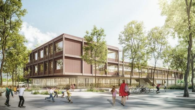So wird die Volksschule in Graz-Reininghaus aussehen: Geplant sind Gemeinschaftsbereiche zum Lernen und eine große Terrasse mit einem Freiluft-Klassenzimmer. (Bild: BIG/Dreiplus)