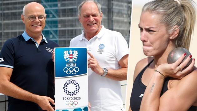 ÖOC-Generalsekretär Peter Mennel (Mitte) mit Präsident Karl Stoss. Siebenkämpferin Ivona Dadic könnte bei den Spielen in Tokio nach einer Medaille greifen. (Bild: GEPA )