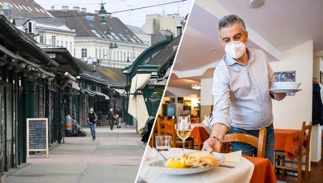 Links: Lockdown in Wien. Rechts: In Vorarlberg hat die Gastro geöffnet. (Bild: APA, Krone KREATIV)
