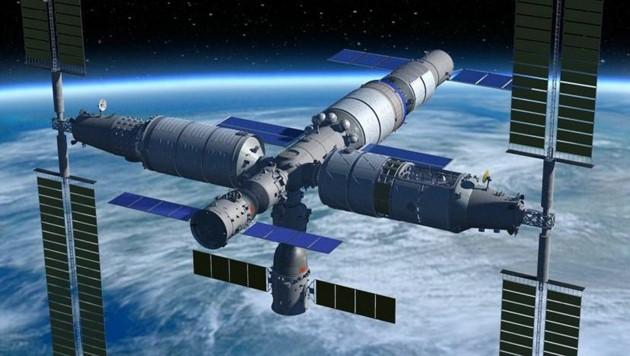 Künstlerische Illustration: So könnte Chinas Raumstation aussehen (Bild: CMSE)