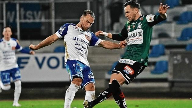 Tobias Kainz (re.) und Hartberg wollen Platz eins der Qualigruppe halten. (Bild: Sepp Pail)