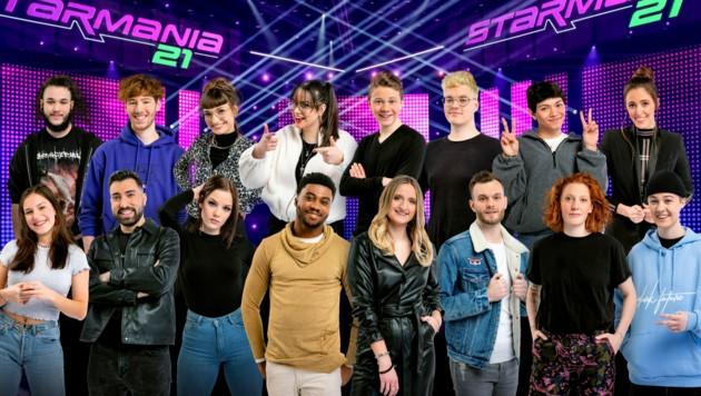 """Insgesamt 16 Kandidatinnen und Kandidaten haben sich für die Finalshows von """"Starmania 21"""" qualifiziert. (Bild: ORF)"""