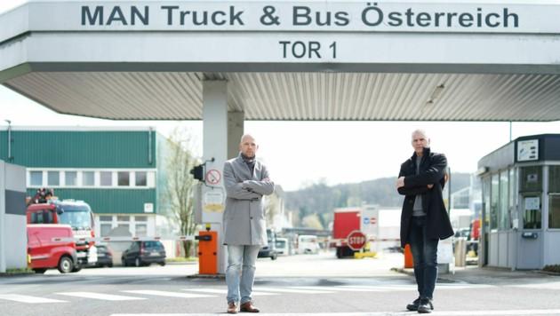 Am Montag gehen Thomas Kutsam und Helmut Emler (r.) in die ersten Gespräche mit den MAN-Anwälten. (Bild: Markus Wenzel)