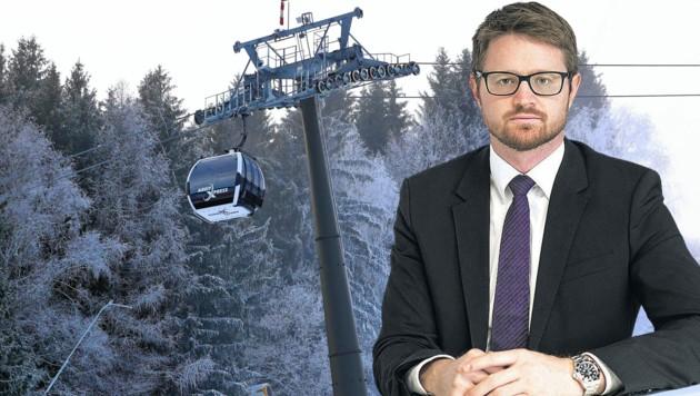 Anwalt Sebastian Kinberger siegte im Rechtsstreit gegen die Schmittenhöhen-Bahnen (Bild: Roland Hölzl/Kinberger/Fotomontage)