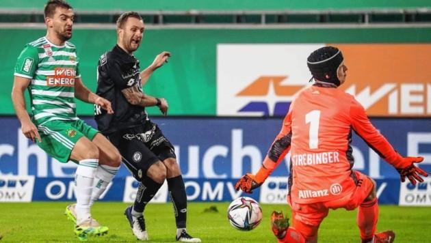 Der Treffer von Sturm-Topscorer Jakob Jantscher (M.) im letzten Duell in Wien war zu wenig - Rapid siegte 4:1. (Bild: GEPA pictures)