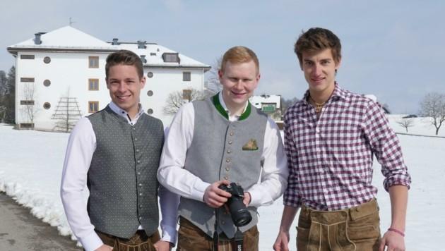 Manuel Klimmer, Johannes Spitzauer und Leo Rogl (v.l.) produzieren die Videos. (Bild: HBLA Ursprung)
