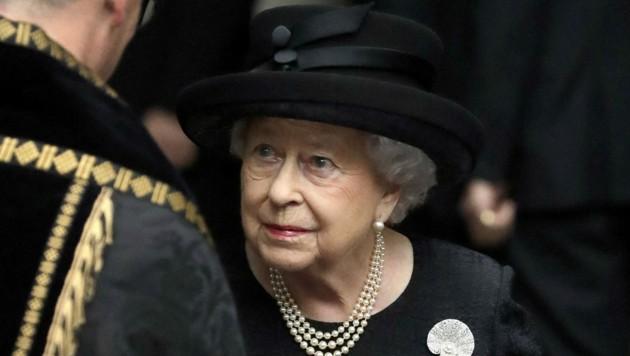 Queen Elizabeth beim Begräbnis der Gräfin Mountbatten von Burma, Patricia Knatchbull, 2017 (Bild: APA/Photo by Matt Dunham / POOL / AFP)