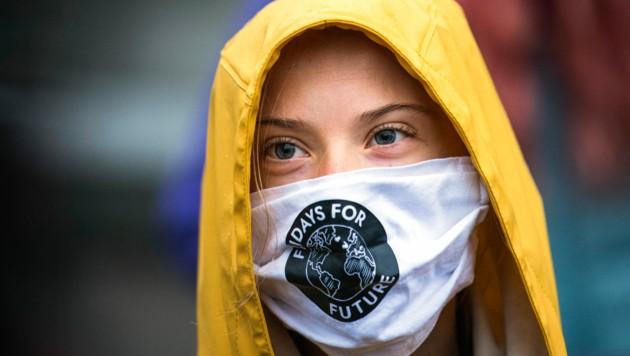 """Die schwedische Klimaaktivistin Greta Thunberg bei einer """"Fridays für Future""""-Demo im Oktober 2020 (Bild: APA/AFP/Jonathan NACKSTRAND)"""