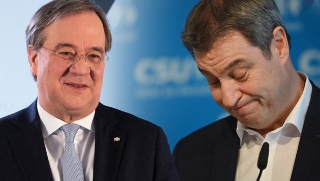 Erfolg für CDU-Chef Armin Laschet (li.) im unionsinternen Machtkampf mit CSU-Chef Markus Söder um die Kanzlerkandidatur (Bild: AFP, APA, Krone KREATIV)