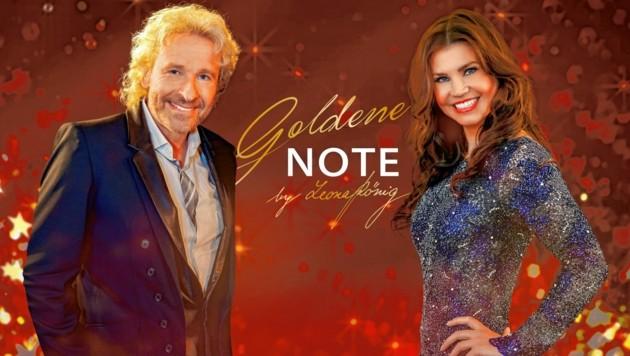 """""""Die Goldene Note 2021"""" mit Thomas Gottschalk und Leona König (Bild: ORF)"""